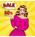 Pop Art Young Smiling Woman Advertising Sale vector image
