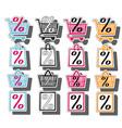 sale shop bag basket and cart icons set discount vector image vector image