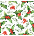 seamless watercolor christmas pattern vector image vector image
