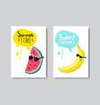 set summer watermelon banana badge isolated vector image