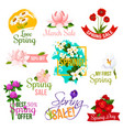 spring sale label and emblem set with flowers vector image