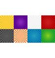 sun burst background comic ray starburst set vector image