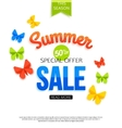 Super spring sale banner with paper flowers over vector image vector image