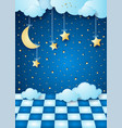 surreal night with hanging moon clouds and floor vector image vector image