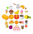 sweetness icons set cartoon style vector image
