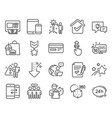 technology icons set included icon as atm vector image vector image