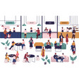 tiny people sitting at tables in large hall and vector image