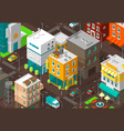 town district street isometric road intersection vector image vector image