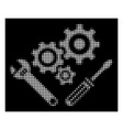 white halftone mechanics tools icon vector image vector image