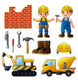 young builders and equipmen vector image