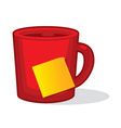 Cup with stick note vector image
