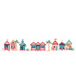 background with multi-colored beach huts vector image