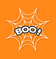 boo text spider round web cobweb white decoration vector image