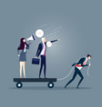 businessman dragging his bossy coworkers alone vector image