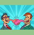 businessman tongue mouth gesture meeting handshake vector image