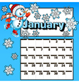 calendar for January snowman skates vector image vector image