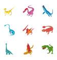 carnivorous dinosaurs icons set cartoon style vector image vector image