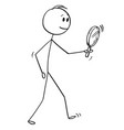 cartoon of man searching with magnifying glass or vector image