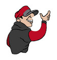 cartoon young guy graffiti with red and gray vector image