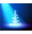 Christmas tree with defocused lights blue vector image vector image