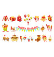 cute birthday party celebration related objects vector image vector image