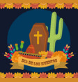 day dead coffin cactus hat and flowers vector image vector image
