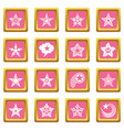 decorative stars icons set pink square vector image