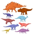 different type cartoon dinosaurs cute monster vector image