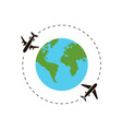 earth and airplane around world vector image vector image
