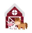 farm animals horse cow barn cartoon isolated icon vector image