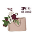 fashion luxury bag full flowers beautiful vector image vector image