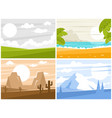 four images of sunrise or sunset vector image