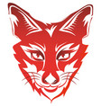 Fox head tattoo brand red isolated on white
