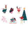 funny christmas santa claus in flat style set of vector image vector image