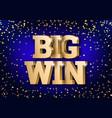 gold 3d word big win vector image vector image