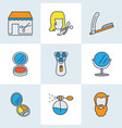 hairdresser icons colored line set with straight vector image
