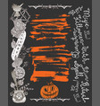 haloween poster with scary witch objects vector image vector image