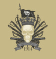 hand-drawn coat arms in vintage style vector image vector image
