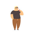 handsome overweight man drinking soft drink fat vector image vector image
