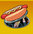 hot dog man under fast food vector image