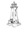 isolated old lighthouse vector image vector image