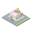isometric of mall with gift boxes on the roof vector image