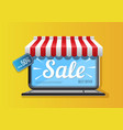 laptop icon with sale promotion vector image