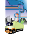 lorry and junction vector image vector image
