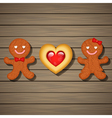 loving couple of gingerbread and heart cookie vector image vector image