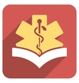 Medical Knowledge Flat Rounded Square Icon with vector image vector image