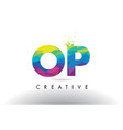 op o p colorful letter origami triangles design vector image vector image