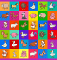 pattern design with cartoon farm animals vector image