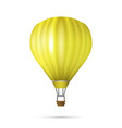 realistic hot air balloon yellow color vector image