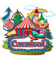 scene with clown at carnival on white vector image
